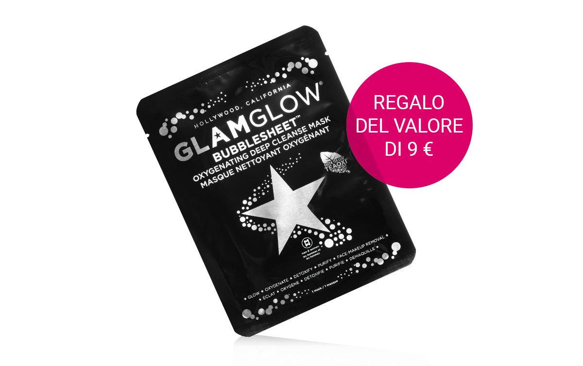 Maschera in tessuto detergente e illuminante Bubblesheet in omaggio con l'acquisto di Glam Glow superiore a 30 €.