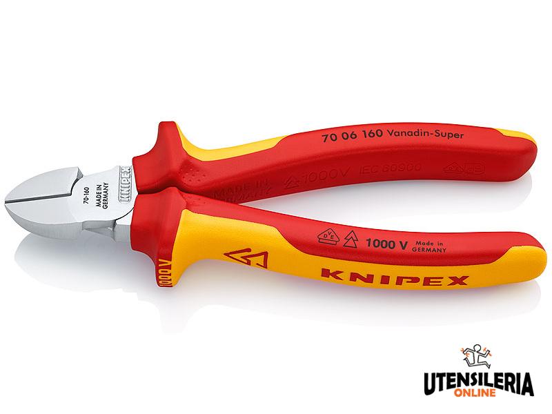 Knipex tronchese tagliente laterale con manici isolati, 160mm