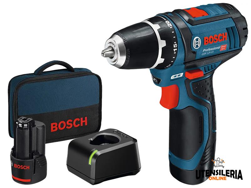 Avvitatore Bosch GSB 12V-15 con percussione in Kit con 2 batterie 2Ah