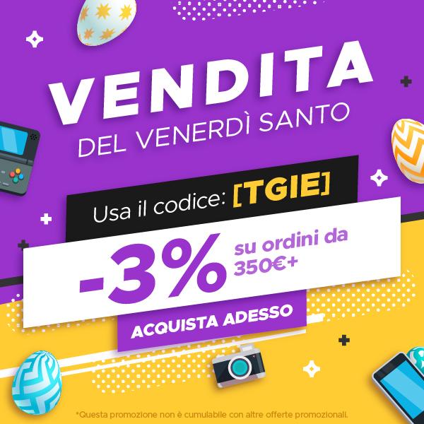 VENDITA DEL VENERDÌ SANTO - Usa il codice: [TGIE]  -3% su ordini da 350€+