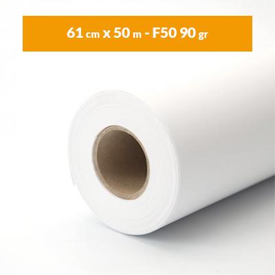 Immagine Rotolo carta plotter A1 bianco (61 cm x 50 m – F50 90 gr)