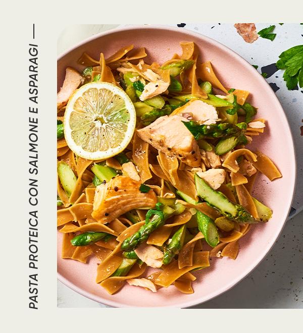 Pasta Proteica con salmone e asparagi