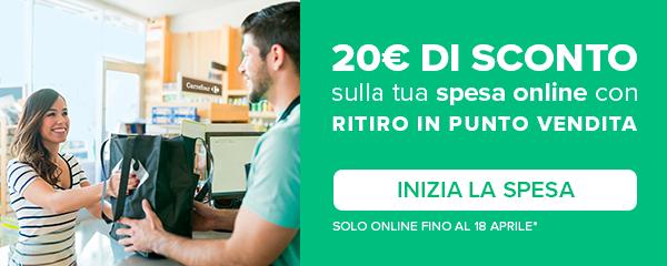 20€ di sconto sulla tua spesa online con ritiro in punto vendita