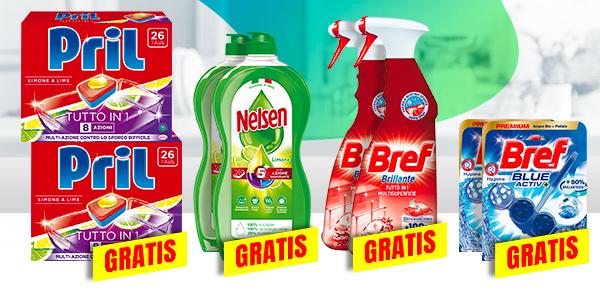 Prendi 2 e paghi 1 su tutti i prodotti Pril, Nelsen e Bref.