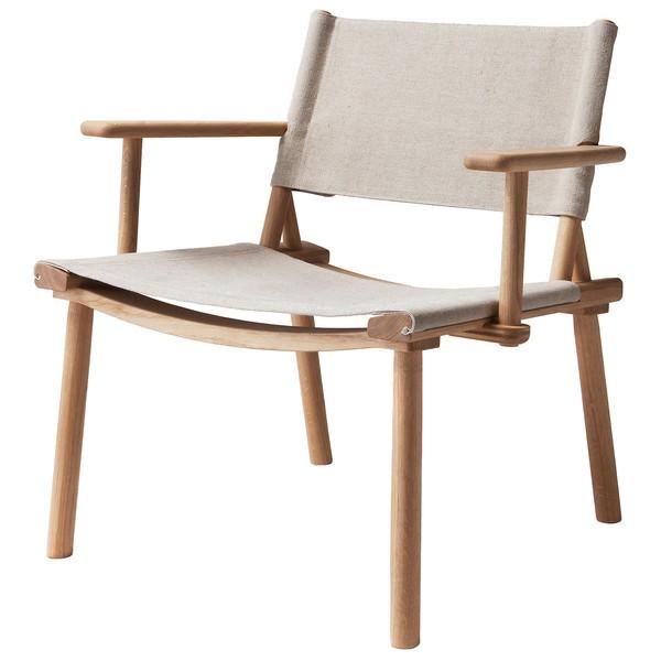 Poltrona December Lounge, rovere - tela di lino