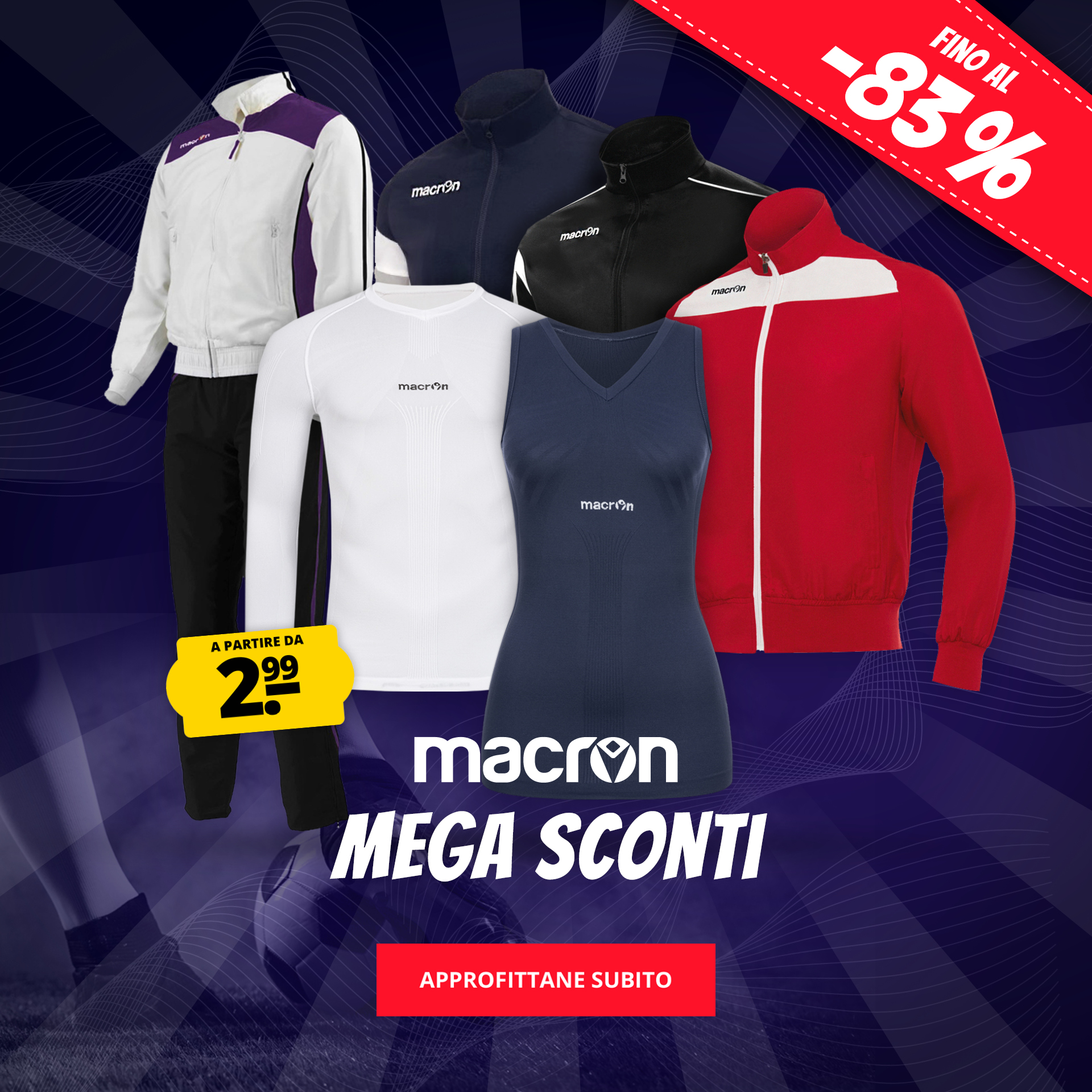 Macron Mega Sconti a partire da 2,99 €