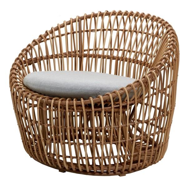 Sedia rotonda Nest, naturale - grigio chiaro