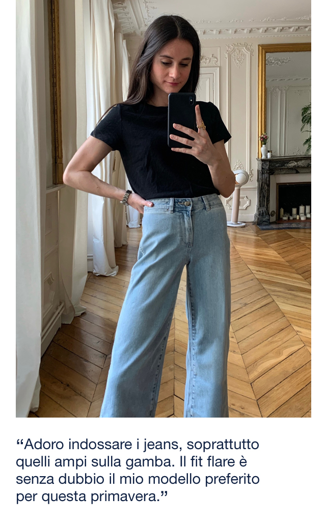Adoro indossare i jeans, soprattutto quelli ampi sulla gamba. Il fit flare è senza dubbio il mio modello preferito per questa primavera.