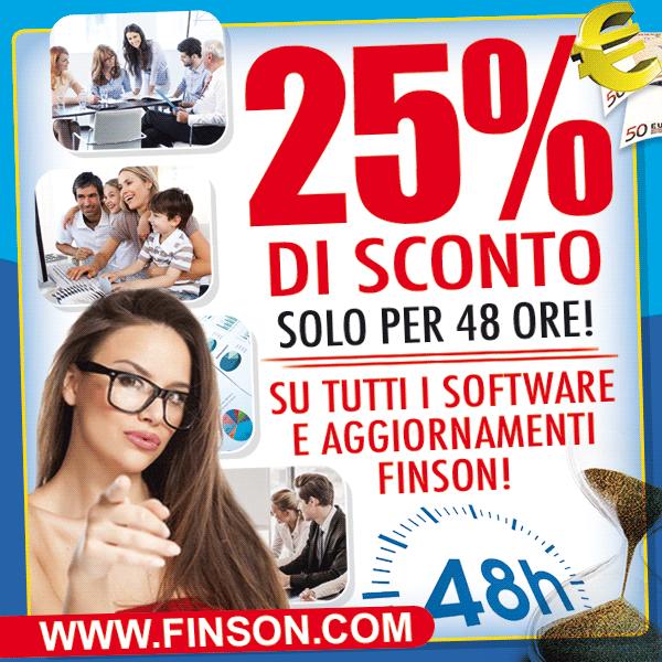 Su WWW.FINSON.COM sconto 25% su tutti i software!