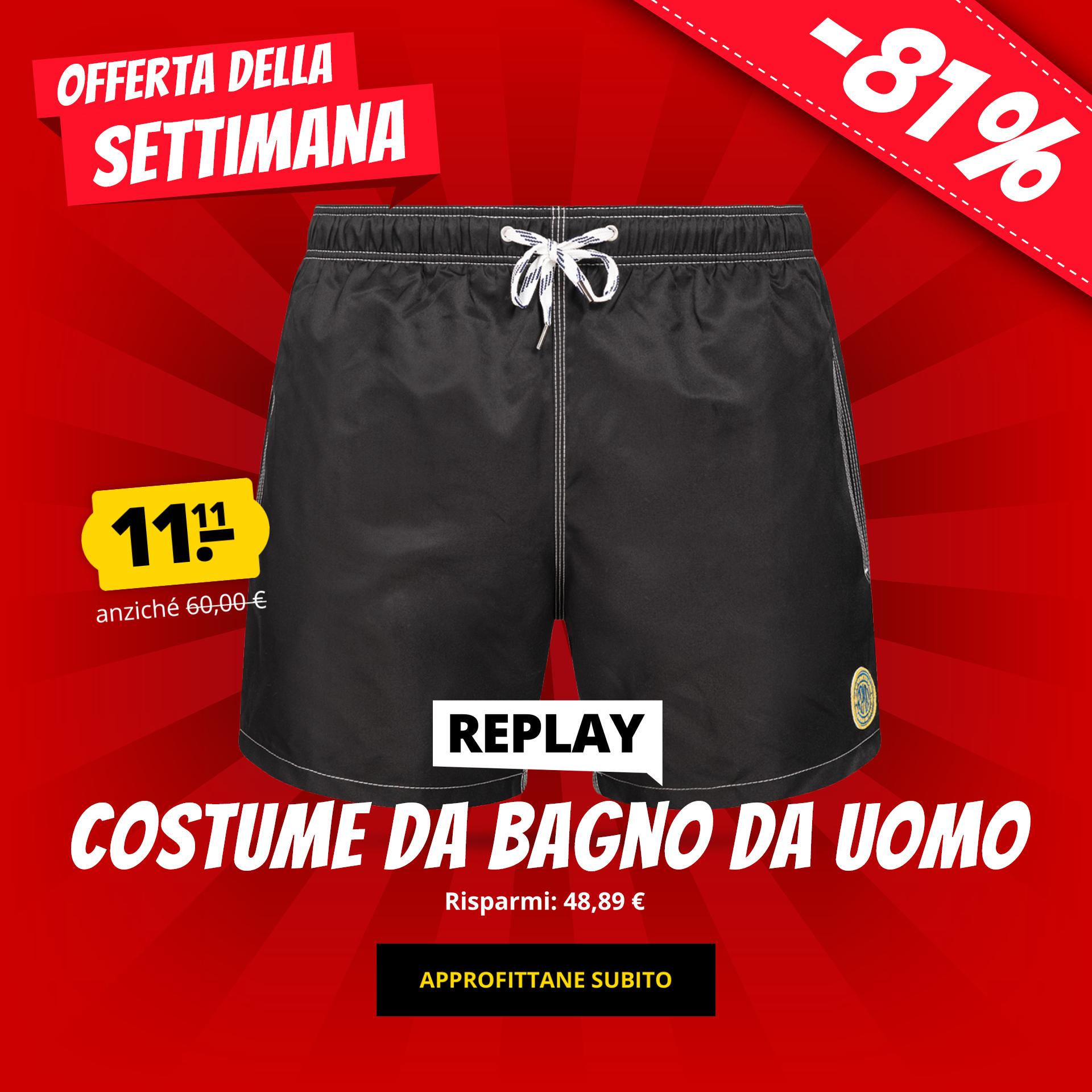 REPLAY Costume da bagno da uomo solo 11,11 €