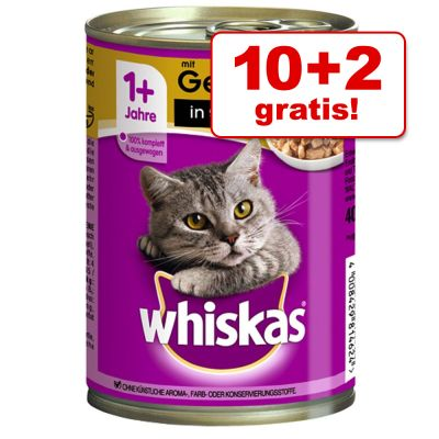 10 + 2 gratis! 12 x 400 g Whiskas 1+ lattine