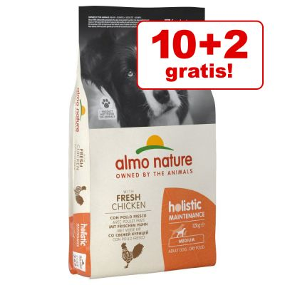 10 + 2 kg gratis! 12 kg Almo Nature Holistic crocchette per cani
