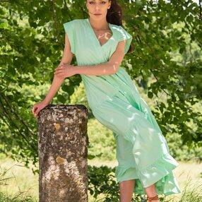 Vestito a blaze in cotone colore verde pastello