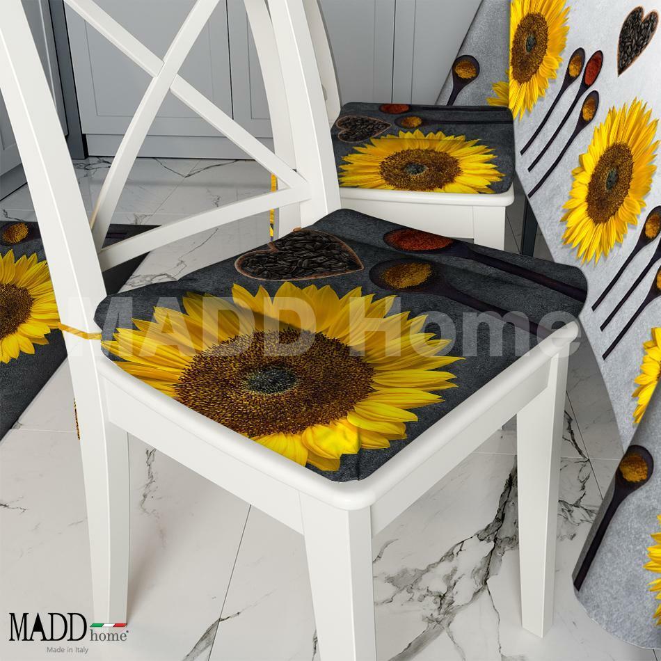 Cuscini Sedia 6 pezzi esclusivo MADD Home Primavera Estate 2021 moderno coordinato cucina Varie fantasie - Made in Italy