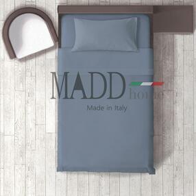 Completo Letto  1 piazza e mezzo MADD home 100% Cotone tinta unita lenzuola federe Made in Italy