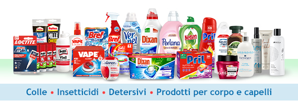 Trovi tutto quello che ti serve: detersivi, prodotti per la bellezza, insetticidi e colle!