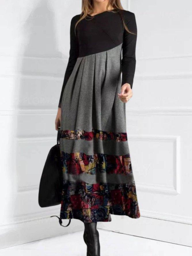 Long Sleeve Cotton-Blend Dres...