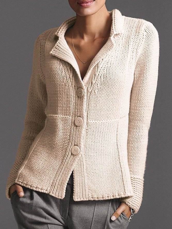 Beige Cotton-Blend Casual Swe...