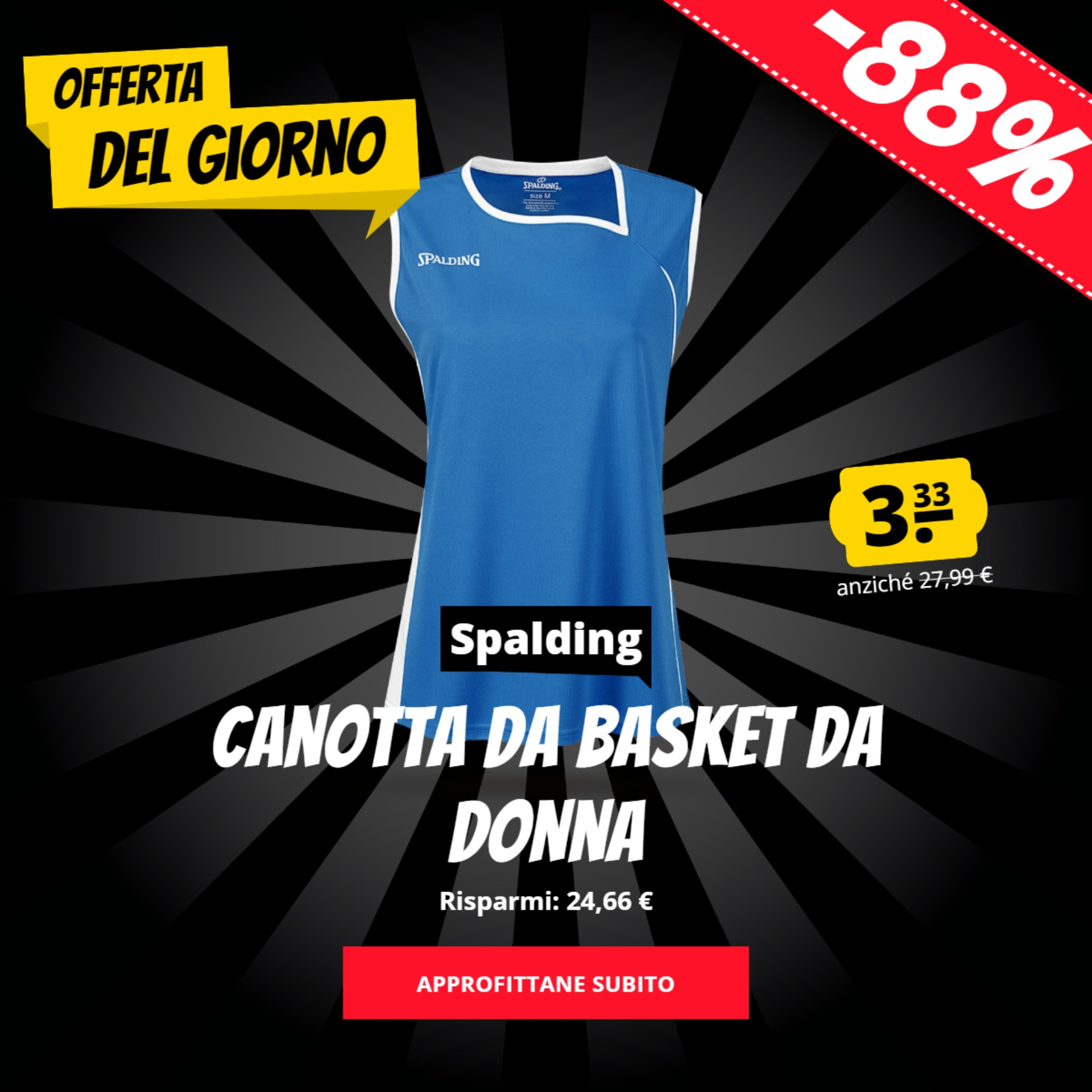 Canotta da basket da donna Spalding solo 3,33 €