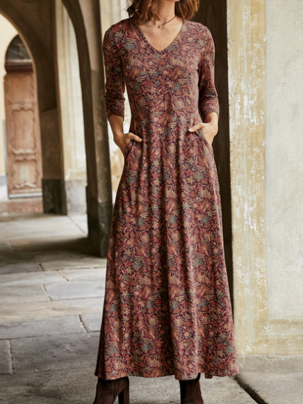 Red Casual Floral Cotton Dres...