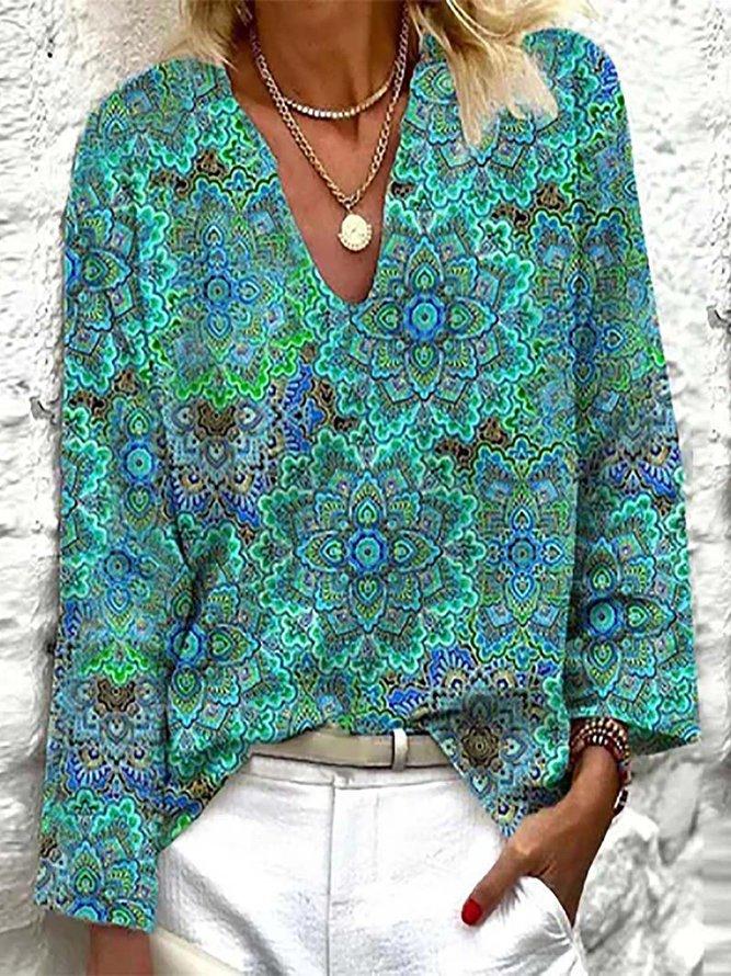 Sleeve V Neck Casual Shirts &...