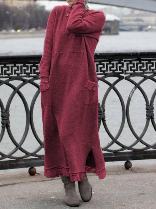 Plain Cotton Long Sleeve Dres...