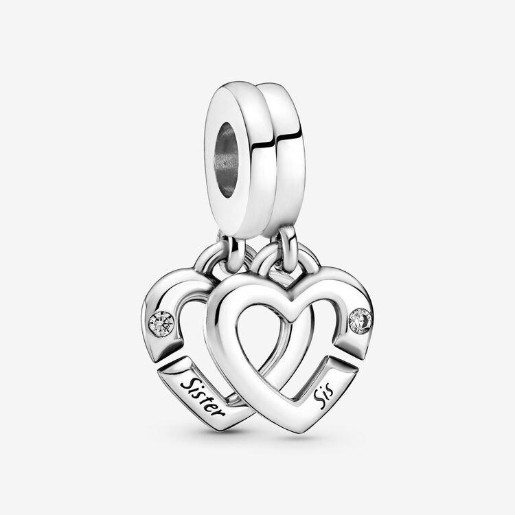 Pandora Linked Sister Hearts Split Dangle Charm