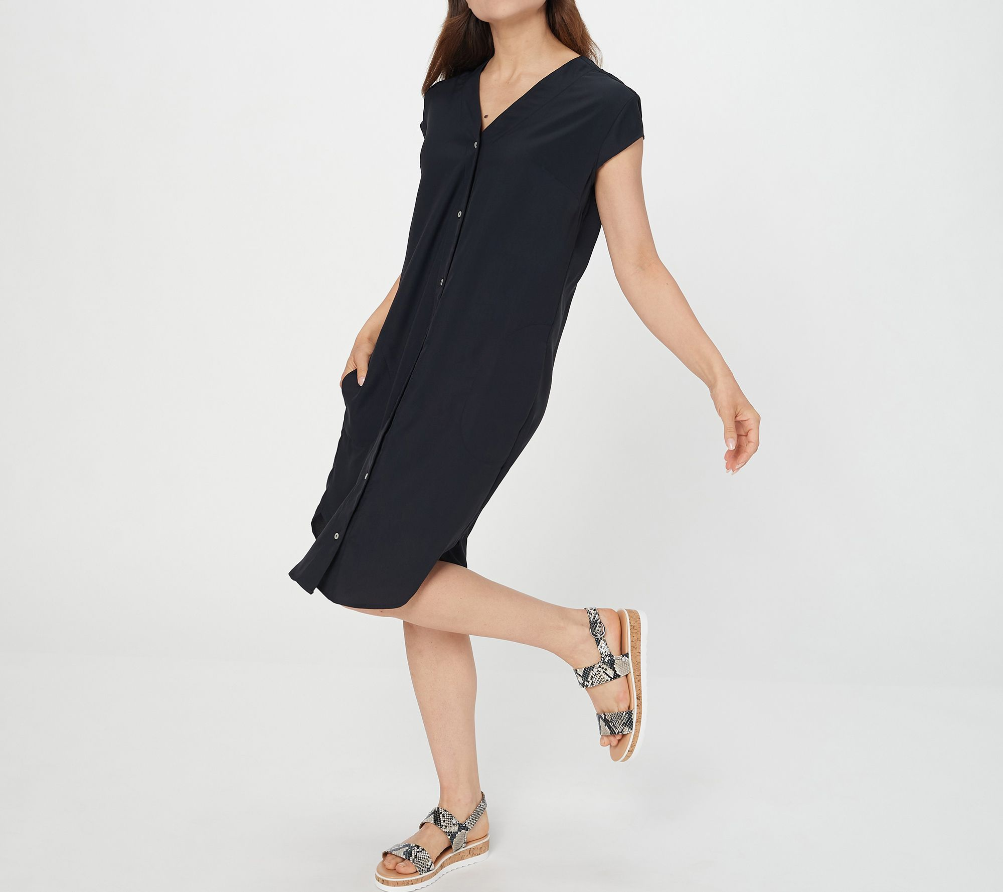 Truth + Style Regular V-Neck Button Front Woven Dress with Pockets