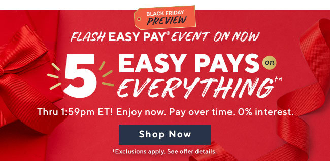 Black Friday Preview Flash Easy Pay® Event 5 Easy Pays on Everything†* Thru 1:59pm ET! Enjoy now. Pay over time. 0% interest. Shop Now †Exclusions apply. See offer details.