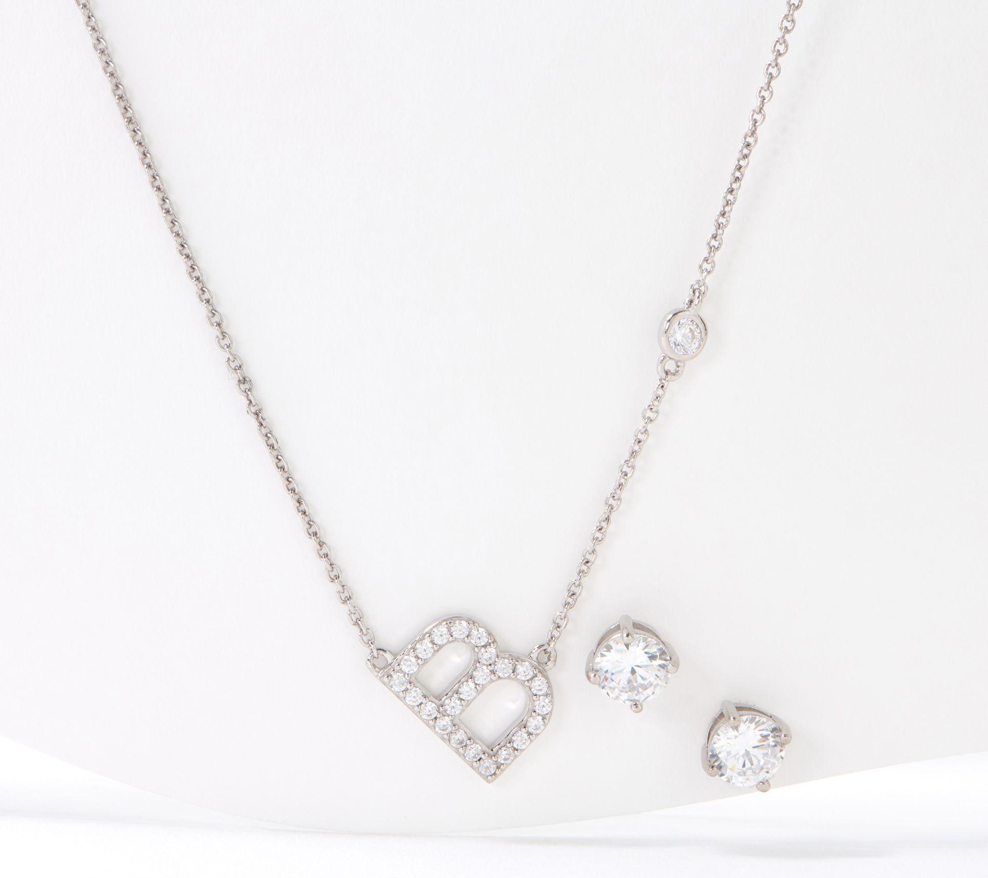 Diamonique Bitty Initial Necklace & Studs Set, Platinum Clad