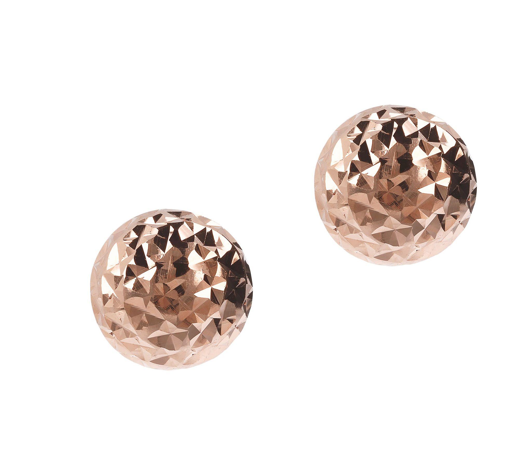 Italian Silver 12mm Round Diamond-Cut Bead Earrings, Sterling
