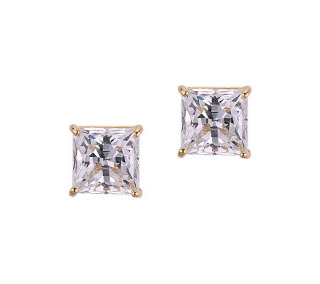 Diamonique 2.50 ct tw Princess Stud Earrings, 14K Gold