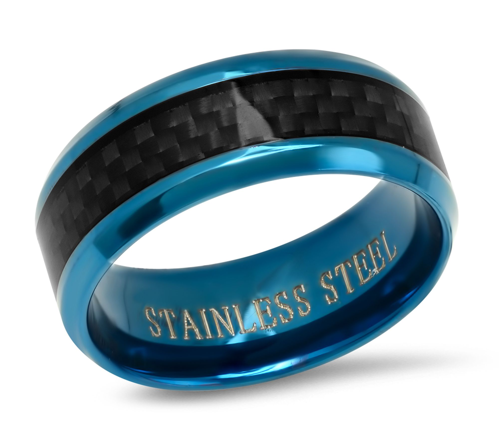 Steel by Design Men's Blue IP Stainless & BlackCarbon Ring