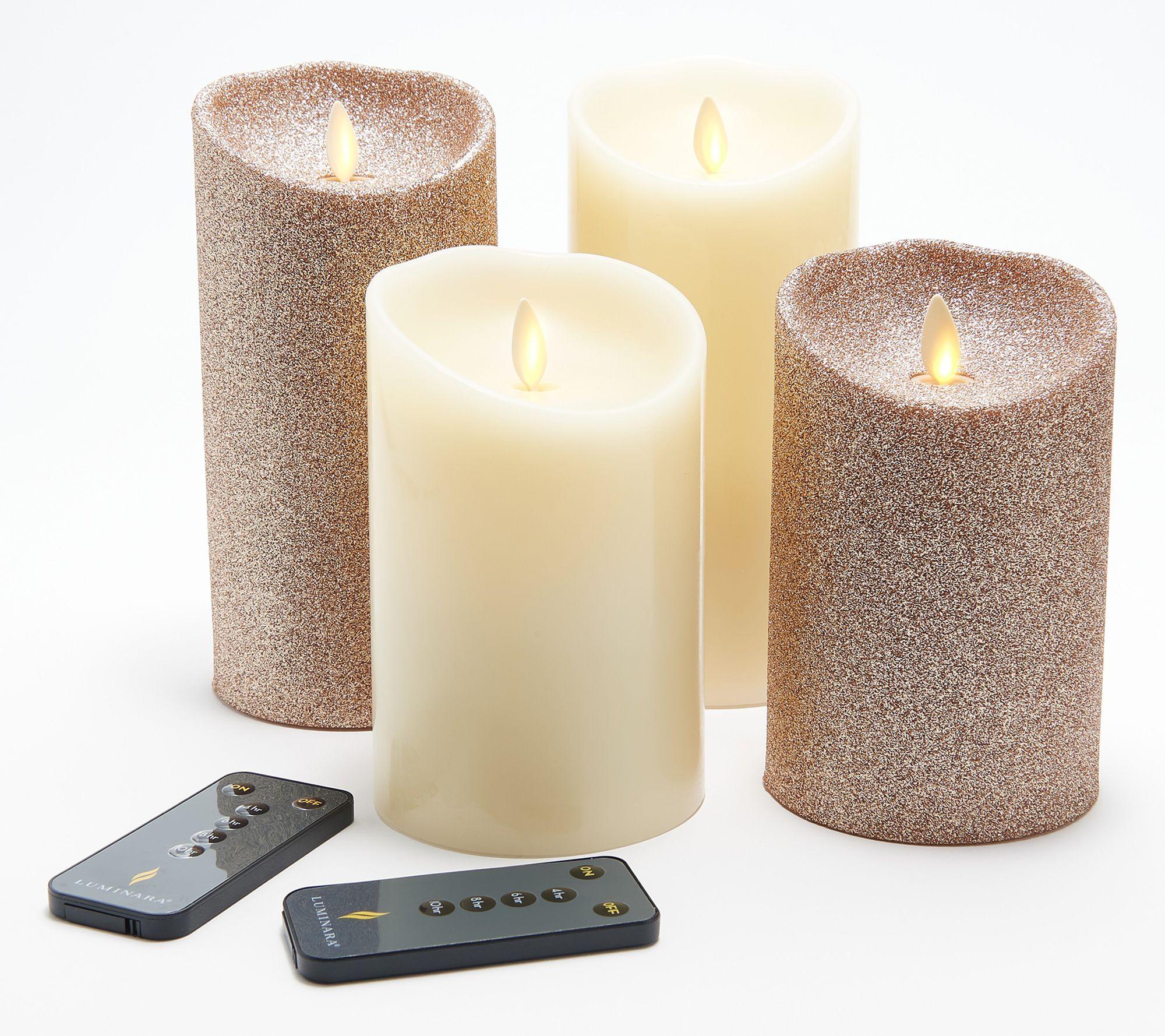 "Luminara Flameless 5""&7"" Smooth and Glitter 4-Pack Candle Set"
