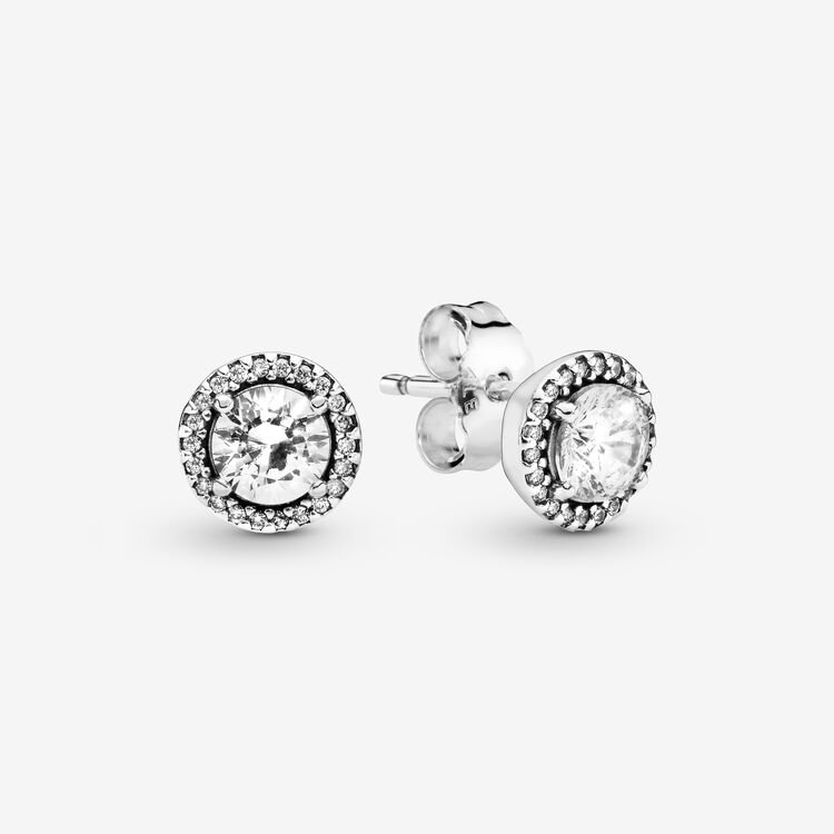 Pandora Round Sparkle Stud Earrings