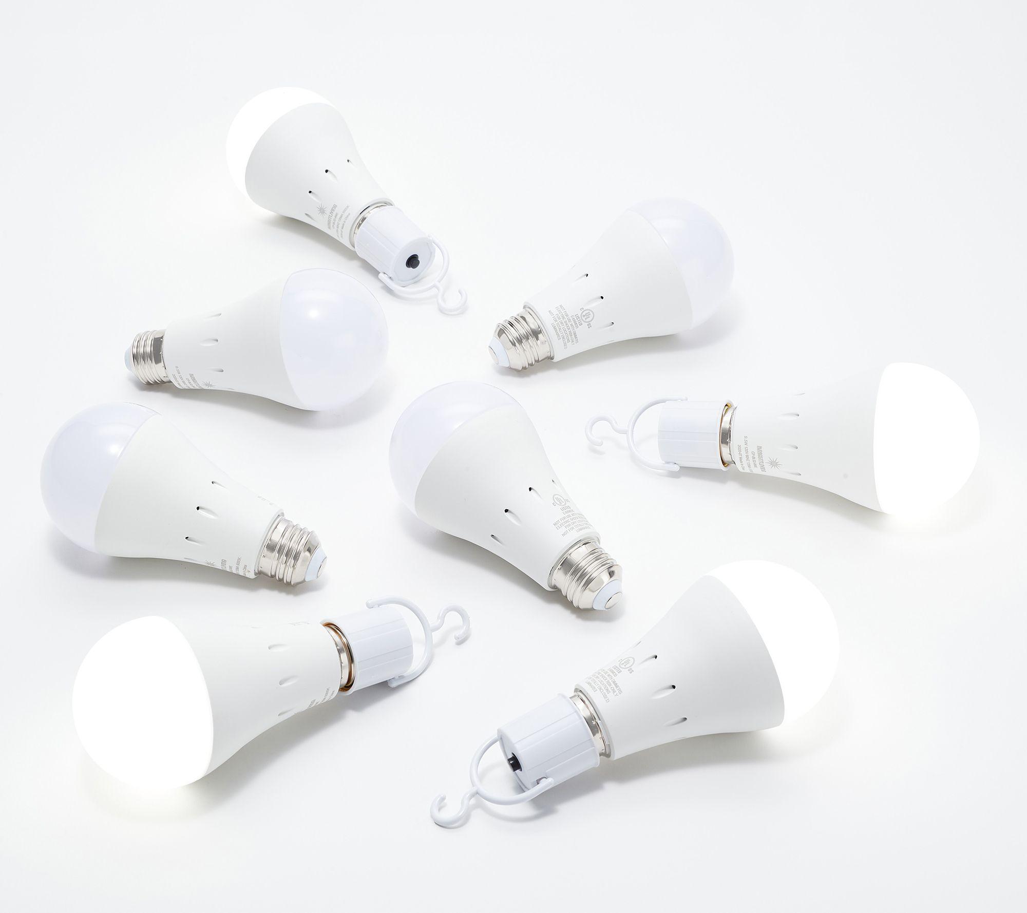 BrightLiving Set of 8 LED Lightbulbs with Built-In Battery