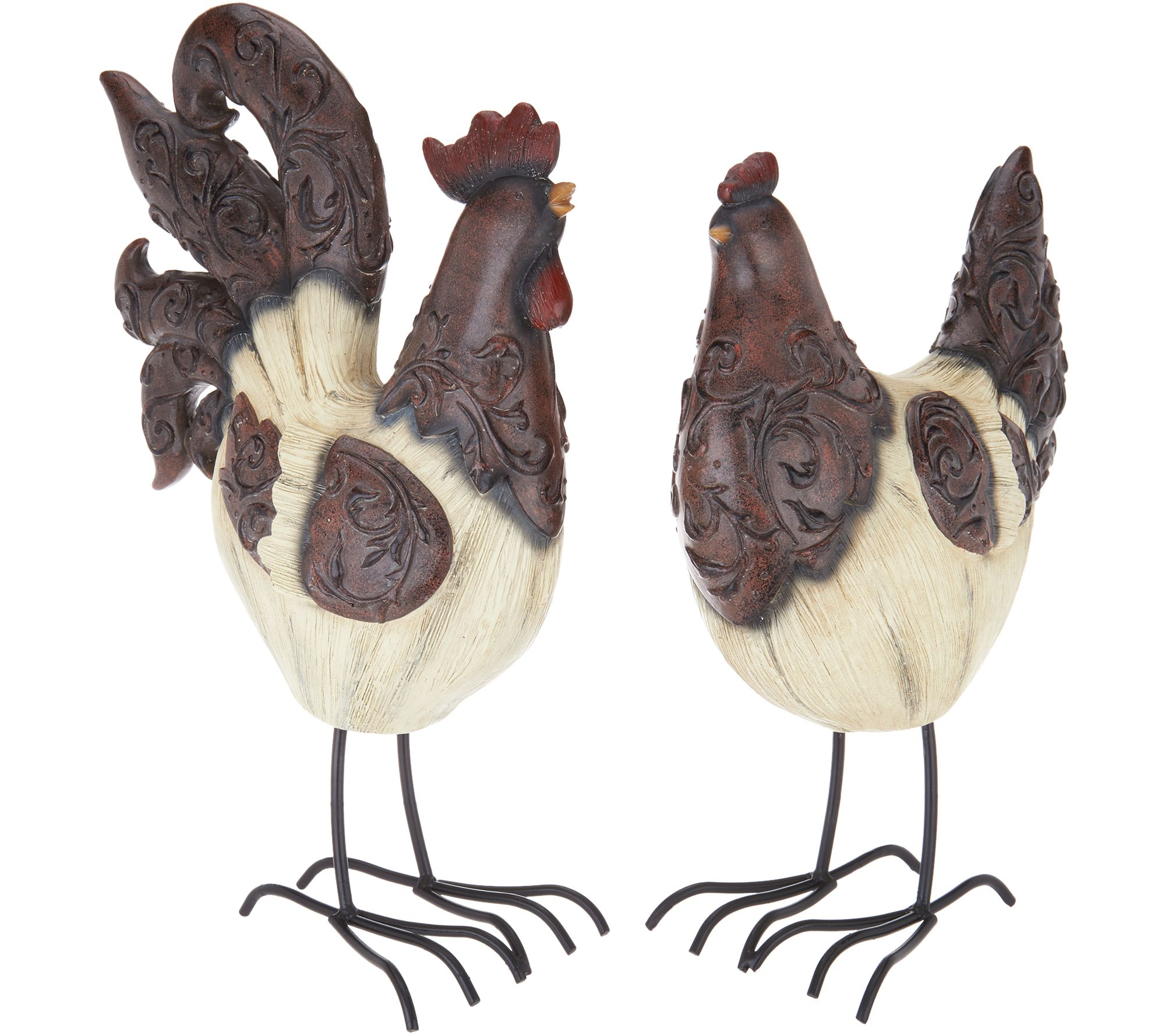 Set of 2 Hen and Rooster Figurines by Valerie