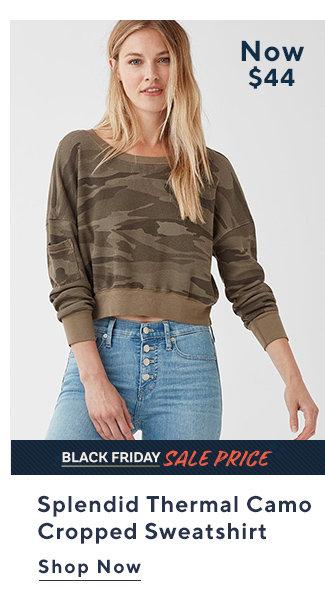 Black Friday Sale Price Splendid Thermal Camo  Cropped Sweatshirt  Shop Now
