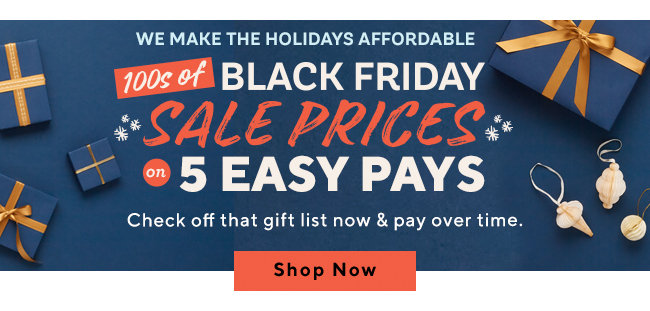 We Make the Holidays Affordable 100s of Black Friday Sale Prices for 5 Easy Pays