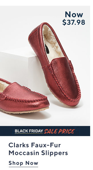 Black Friday Sale Price Clarks Faux-Fur  Moccasin Slippers  Shop Now