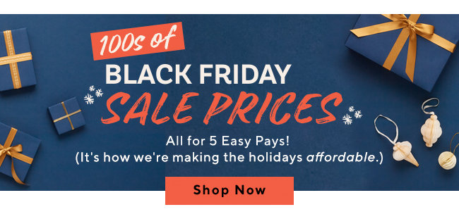 100s of Black Friday Sale Prices  All for 5 Easy Pays! (It's how we're making the holidays affordable.) Shop Now