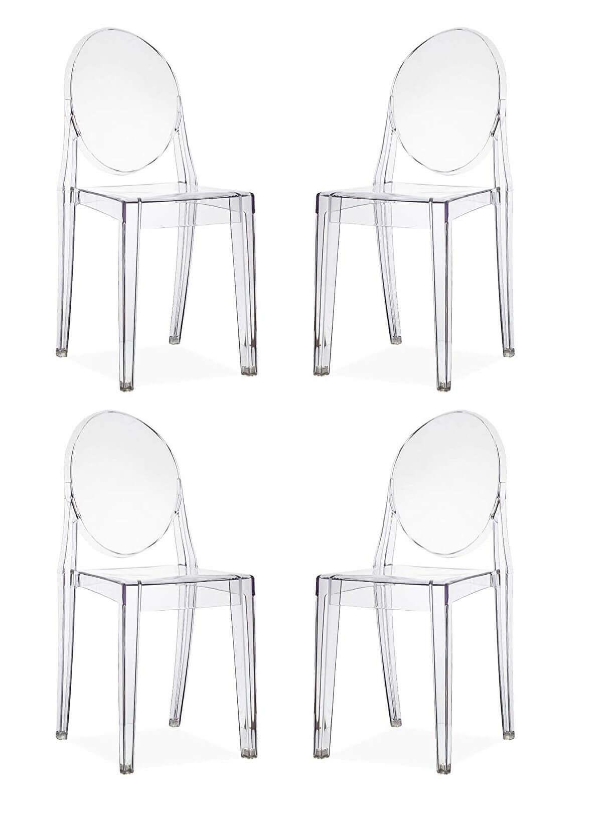 MÉLODIE - set di 4 sedie in policarbonato trasparente