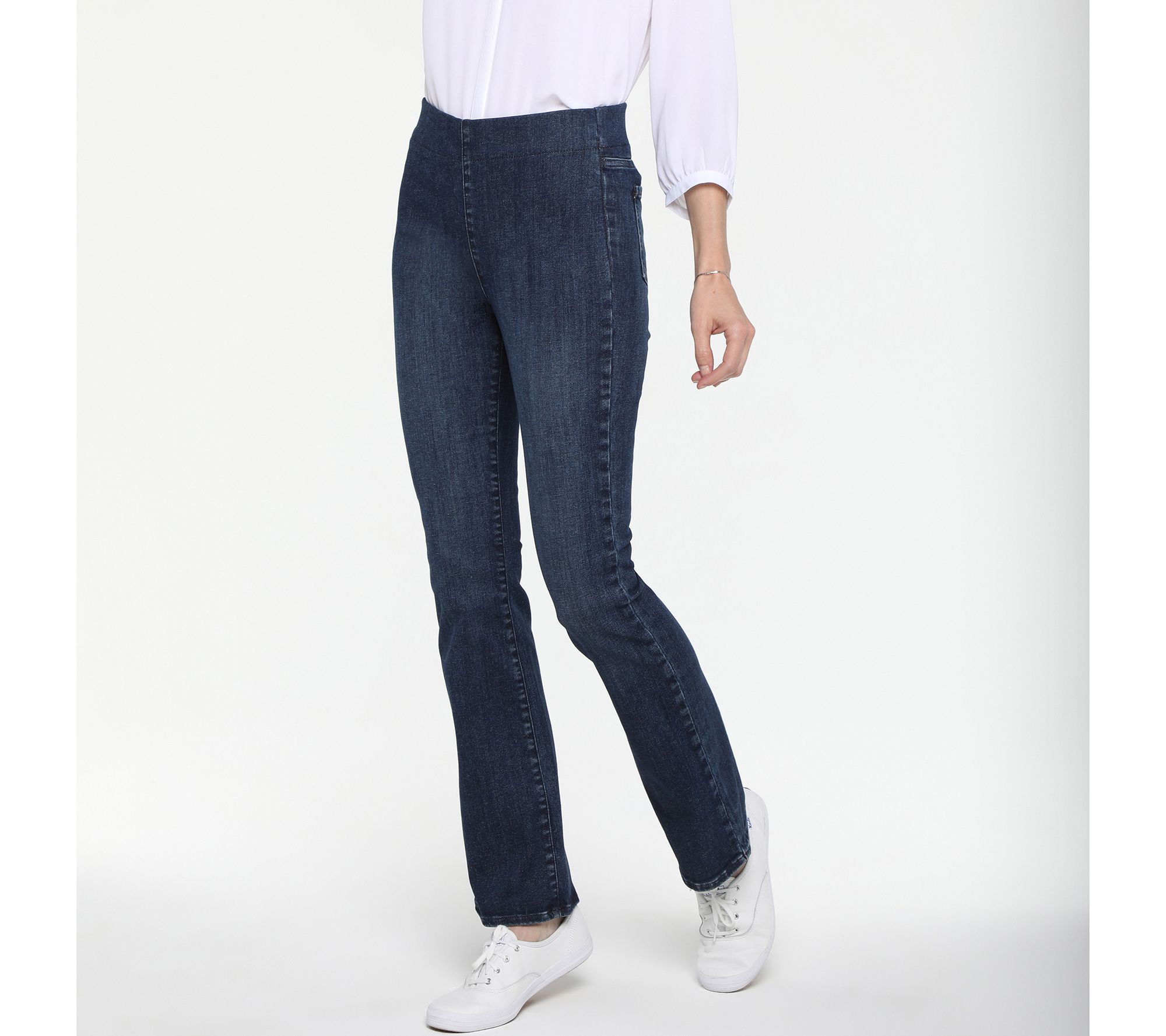 NYDJ Spanspring Pull-On Slim Bootcut Jeans- Decker