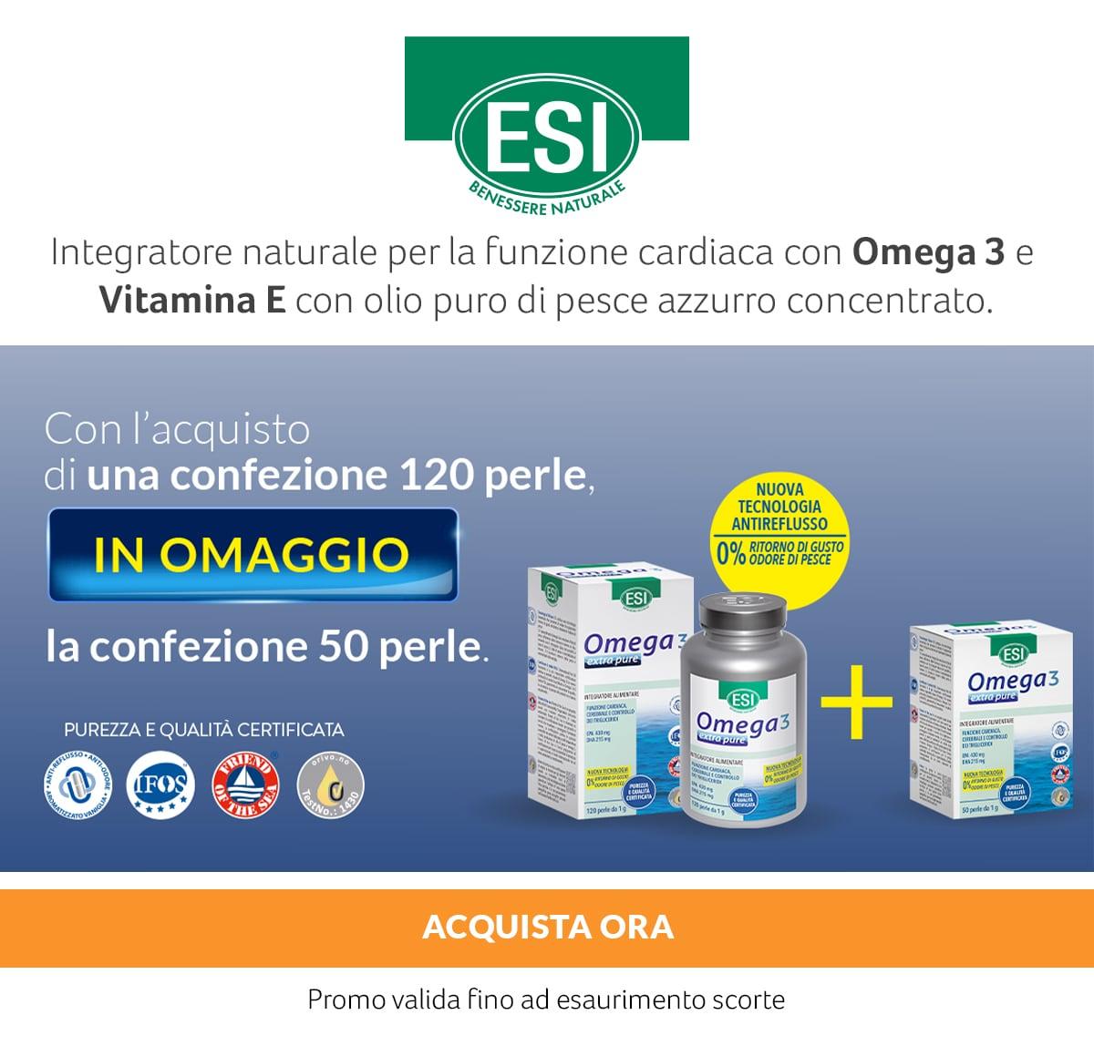 Esi Omega 3 e Vitamina E. In OMAGGIO la confezione 50 perle